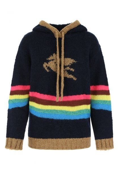 Multicolor acrylic blend oversize sweater