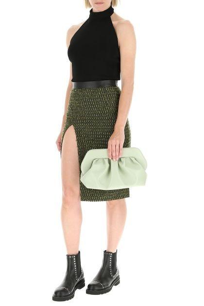 Embroidered polyester blend midi skirt