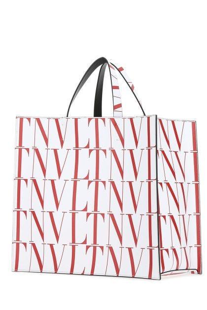 Printed leather VLTN Times shopping bag