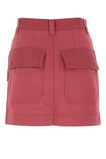 Dark red linen blend mini skirt