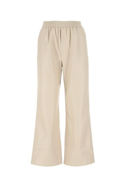 Sand synthetic leather Odessa wide-leg pant