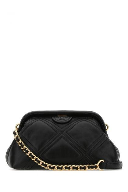 Black leather small Fleming clutch