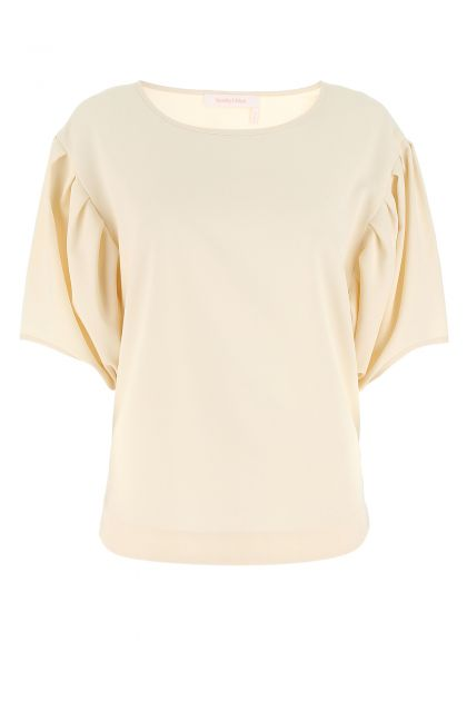 Ivory polyester oversize top