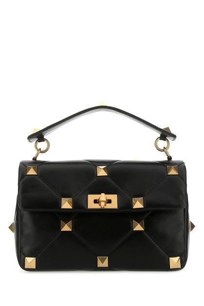 Black leather large Roman Stud handbag