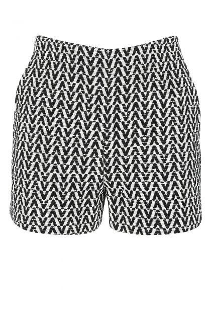 Embroidered cotton blend shorts