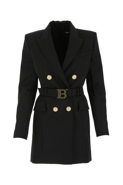 Black wool blazer dress
