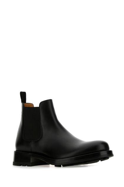 Black leather Beatle Roman Stud ankle boots