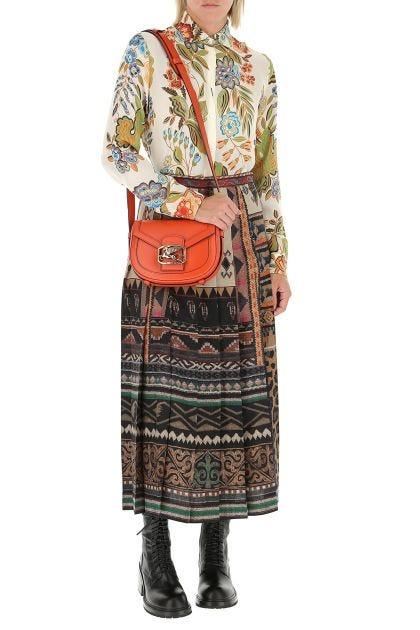 Printed wool blend skirt