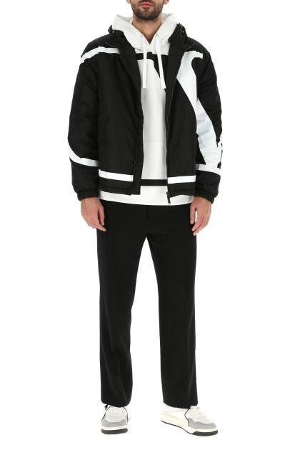 Black nylon V Maxi padded jacket