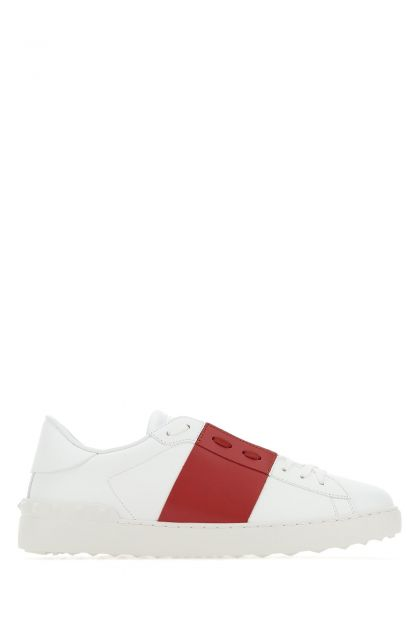White leather Open with Tiziano red band sneakers