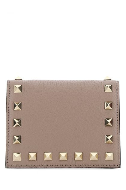 Antique pink leather small Rockstud wallet