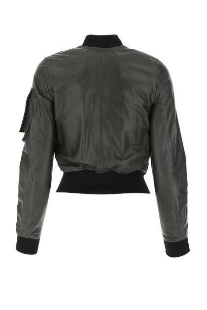 Charcoal nappa leather Elia bomber jacket