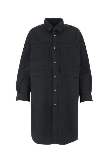 Blue stretch denim oversize shirt dress