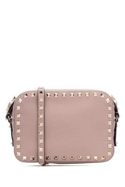 Antiqued pink leather Rockstud small crossbody bag