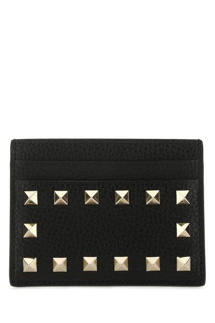 Black leather Rockstud card holder