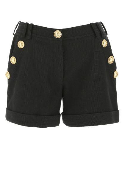 Black piquet shorts