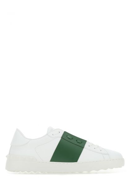 White leather Open sneakers with army green band