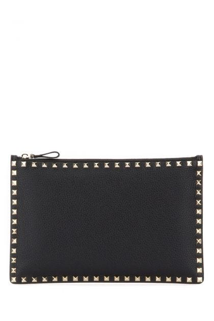 Black leather Rockstud clutch