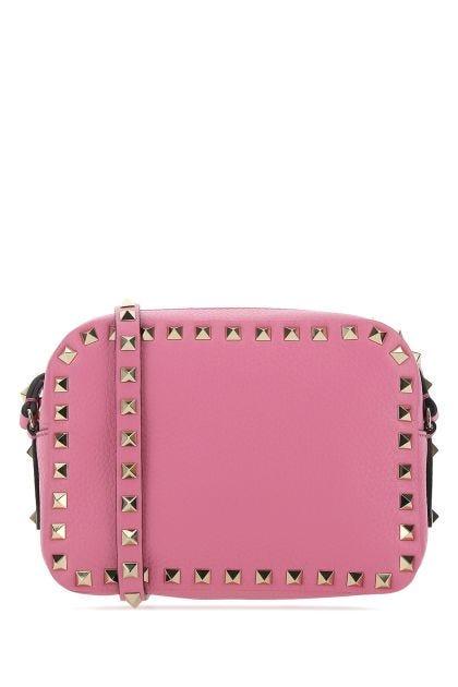 Fuchsia leather Rockstud crossbody bag