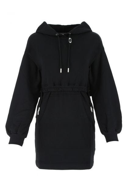 Black nylon blend sweatshirt dress