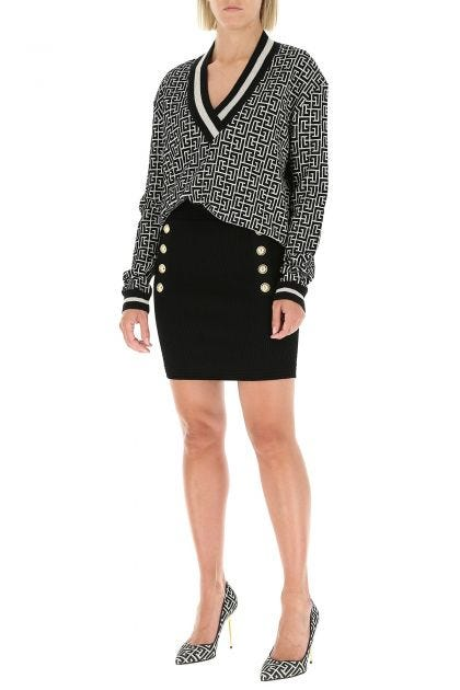 Embroidered viscose blend mini skirt