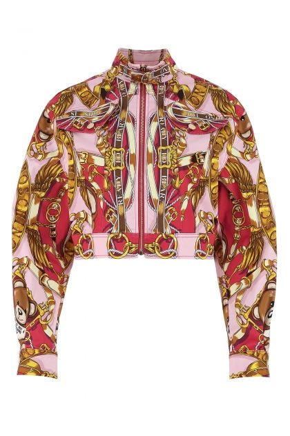 Printed stretch cotton jacket