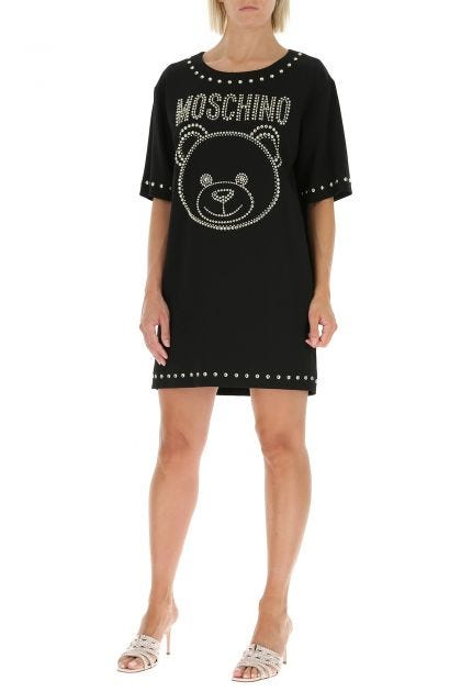 Black stretch viscose t-shirt dress