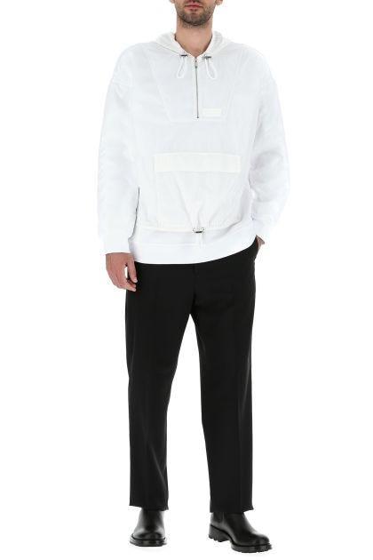 White cotton blend oversize sweatshirt