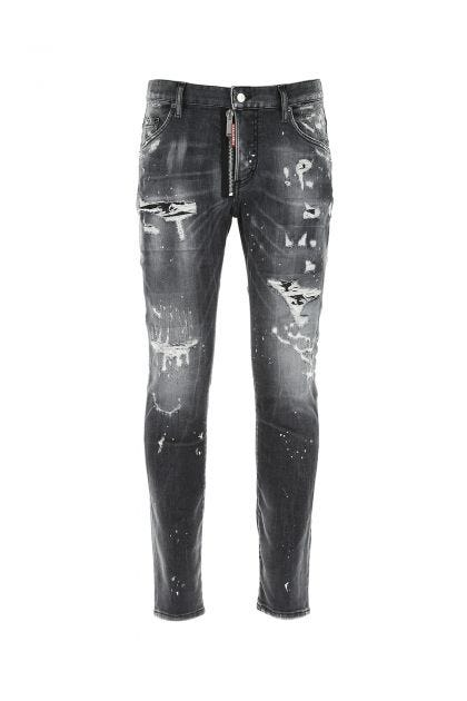 Grey stretch denim Skater jeans