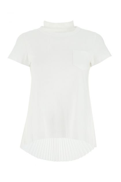 White cotton and polyester blend t-shirt