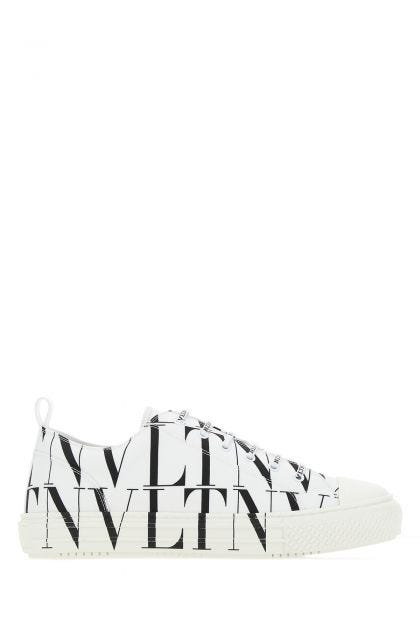 White fabric VLTN All Over sneakers