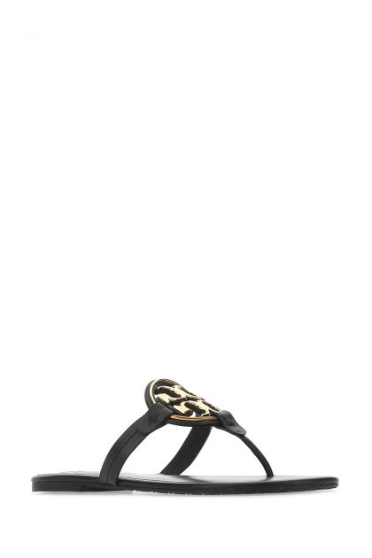 Black leather Miller thong slippers