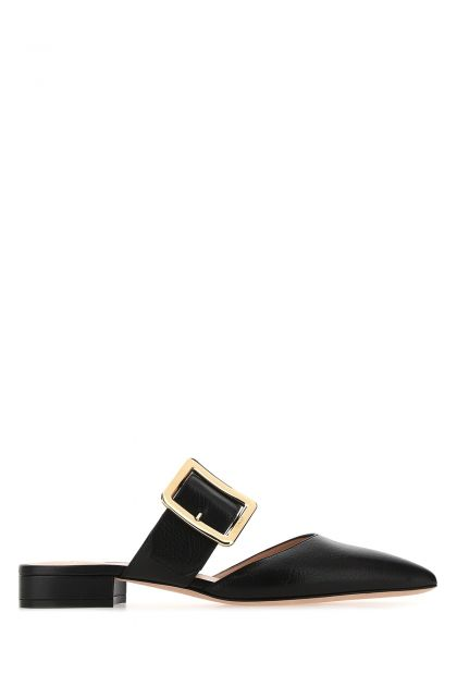 Black leather Jemina mules
