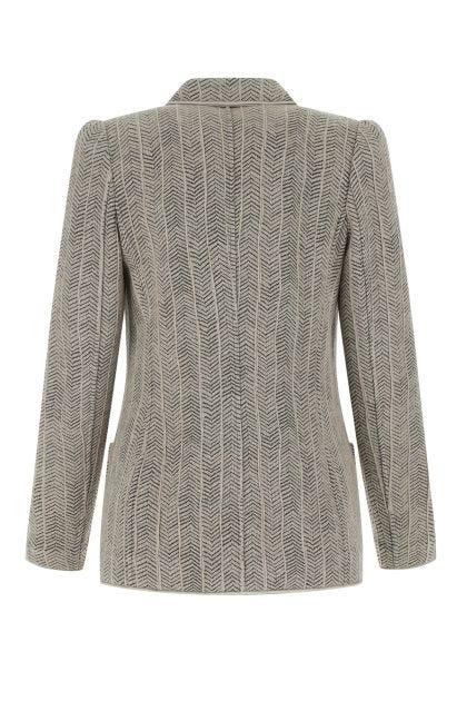 Embroidered stretch cashmere blend blazer