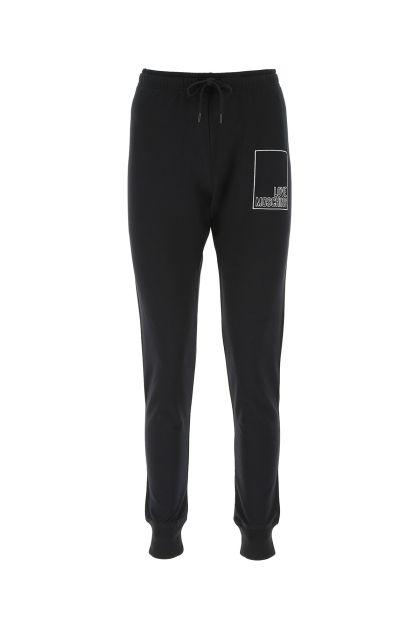 Black stretch cotton jogging pant