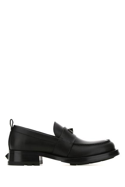 Black leather Roman Stud loafers