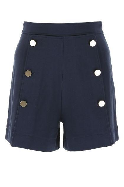 Midnight blue stretch viscose blend shorts
