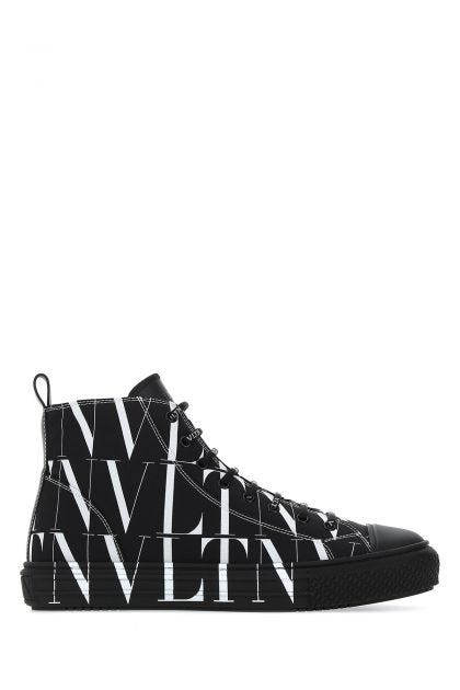 Black fabric VLTN All over high sneakers