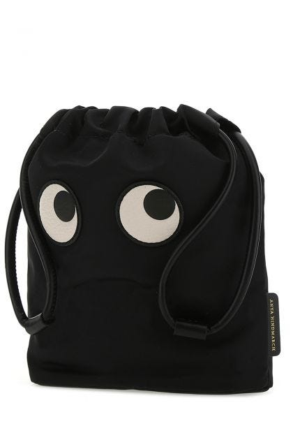 Black nylon Eyes handbag