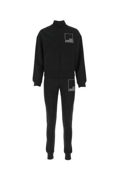 Black cotton stretch jumpsuit
