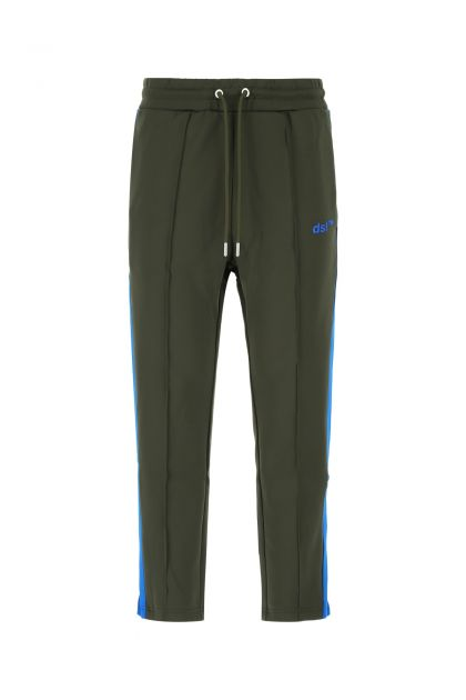 Army green polyester stretch joggers