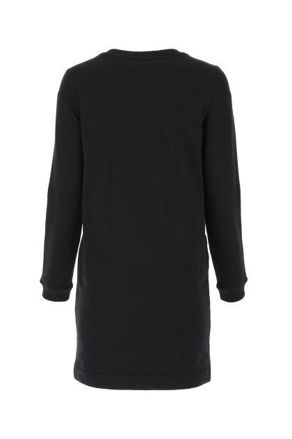 Black stretch cotton sweatshirt dress