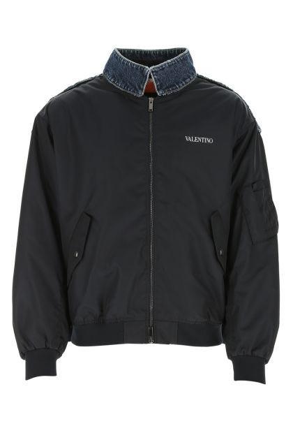 Two-tone denim and nylon bomber jacket