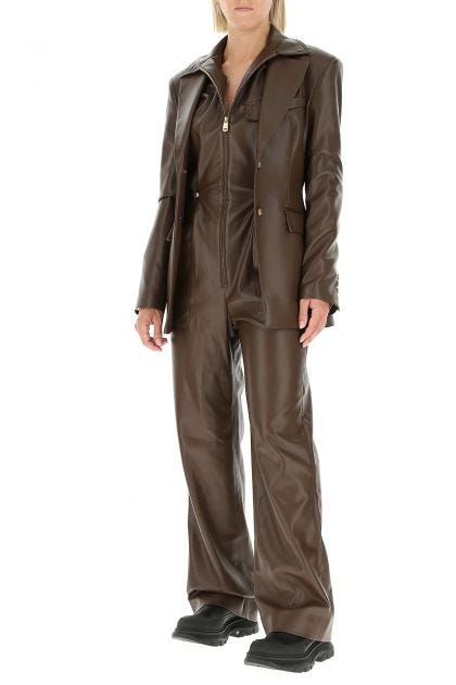 Brown synthetic leather Zac jumpsuit