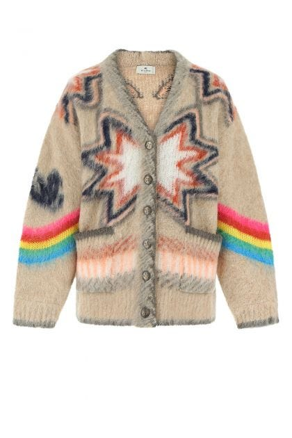 Embroidered acrylic blend cardigan