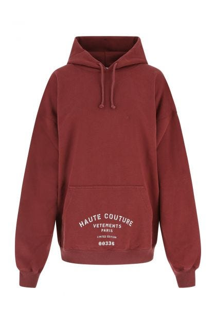 Burgundy cotton blend oversize sweatshirt