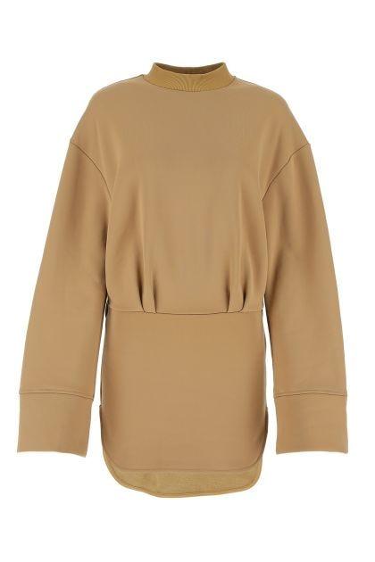 Beige cotton blend sweatshirt dress