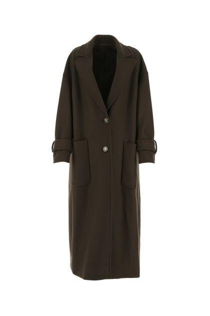 Chocolate wool blend oversize coat