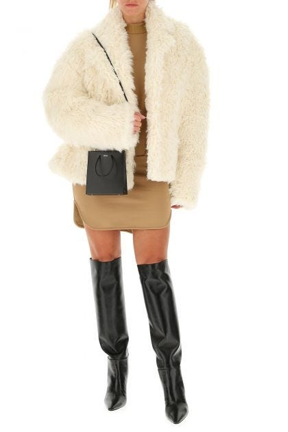 Ivory eco fur coat