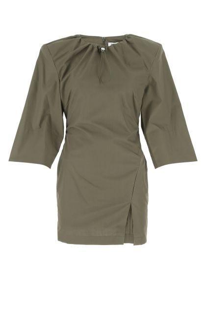Army green cotton mini dress